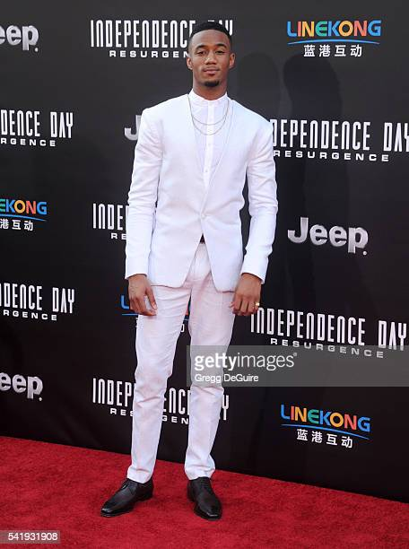 Actor Jessie Usher arrives at the premiere of 20th Century Fox's 'Independence Day Resurgence' at TCL Chinese Theatre on June 20 2016 in Hollywood...