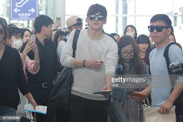 Actor Ji Changwook arrives at Changsha Huanghua International Airport on April 29 2015 in Changsha Hunan province of China