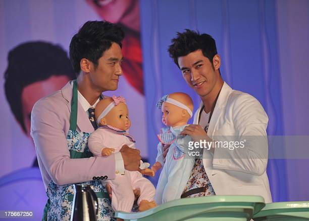 Actor Jiang Jinfu actor Aarif Lee attend 'One Night Surprise' premiere at China World Summit Wing on August 5 2013 in Beijing China