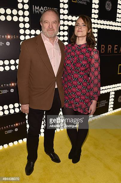 Actor Jim Beaver and Leslie Ranne attend National Geographic Channel's 'Breakthrough' world premiere event at The Pacific Design Center on October 26...