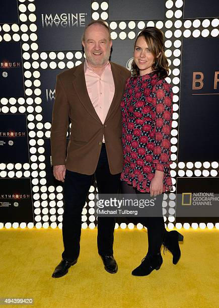Actor Jim Beaver and Leslie Ranne attend the premiere of National Geographic Channel and GE's 'Breakthrough' at Pacific Design Center on October 26...