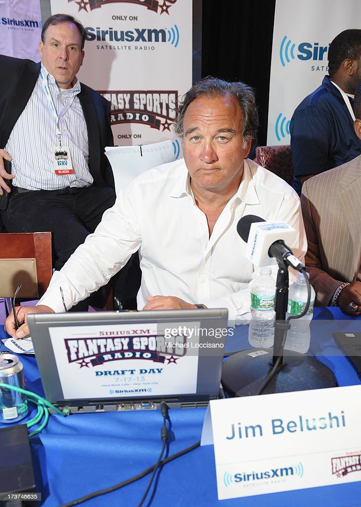 Actor <a gi-track='captionPersonalityLinkClicked' href=/galleries/search?phrase=Jim+Belushi&family=editorial&specificpeople=215411 ng-click='$event.stopPropagation()'>Jim Belushi</a> attends the SiriusXM Celebrity Fantasy Football Draft at Hard Rock Cafe - Times Square on July 17, 2013 in New York City.