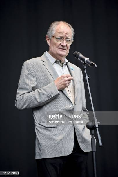 Actor Jim Broadbent performs a poem onstage at Belfast Botanic Gardens where the Big IF Belfast concert is taking place ahead of the G8 Summit in...