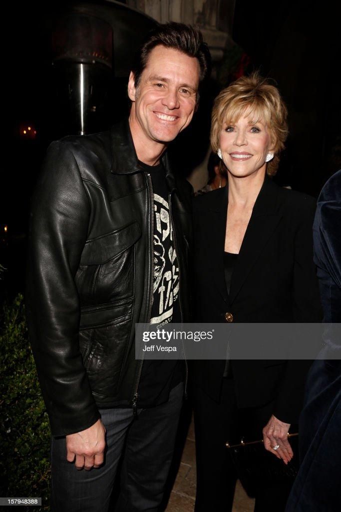 Actor Jim Carey and actress <a gi-track='captionPersonalityLinkClicked' href=/galleries/search?phrase=Jane+Fonda&family=editorial&specificpeople=202174 ng-click='$event.stopPropagation()'>Jane Fonda</a> attend the SILVER LININGS PLAYBOOK Event Hosted By Lexus And Purity Vodka at Chateau Marmont on December 7, 2012 in Los Angeles, California.