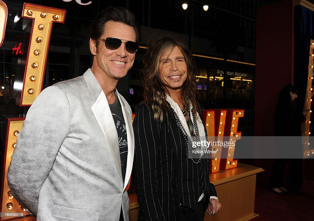 Actor Jim Carrey (L) and musician Steven Tyler attend the premiere of Warner Bros. Pictures' 'The Incredible Burt Wonderstone' at TCL Chinese Theatre on March 11, 2013 in Hollywood, California.