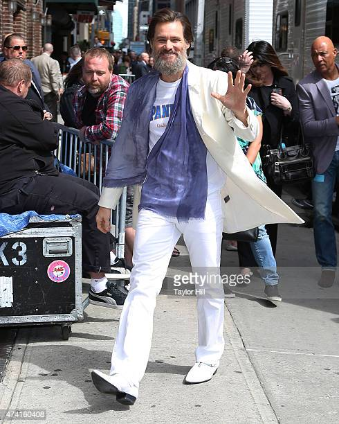 Actor Jim Carrey arrives at 'Late Show with David Letterman' at Ed Sullivan Theater on May 20 2015 in New York City