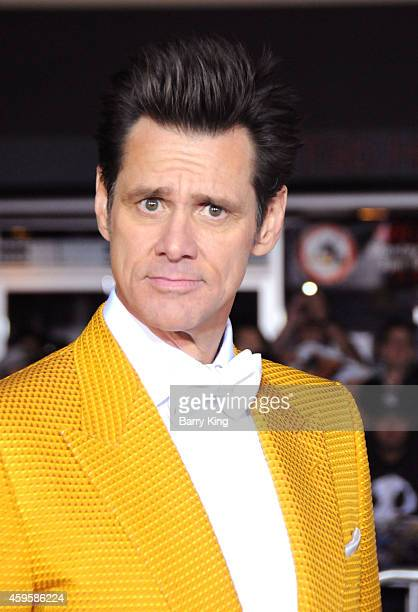 Actor Jim Carrey arrives at the Los Angeles premiere of 'Dumb And Dumber To' held at Regency Village Theatre on November 3 2014 in Westwood California