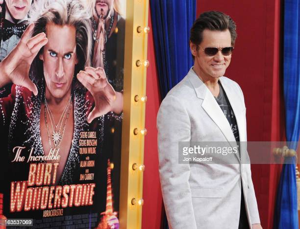 Actor Jim Carrey arrives at the Los Angeles Premiere 'The Incredible Burt Wonderstone' at TCL Chinese Theatre on March 11 2013 in Hollywood California