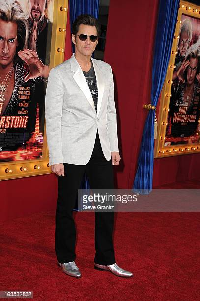 Actor Jim Carrey attends 'The Incredible Burt Wonderstone' Los Angeles Premiere at TCL Chinese Theatre on March 11 2013 in Hollywood California