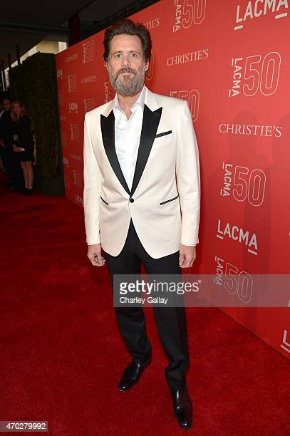 Actor Jim Carrey attends the LACMA 50th Anniversary Gala sponsored by Christie's at LACMA on April 18 2015 in Los Angeles California