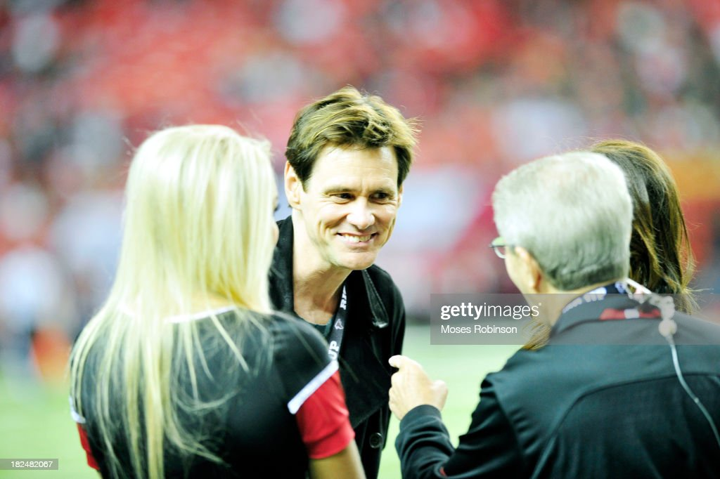 Actor Jim Carey attends The New England Patriots vs. Atlanta Falcons game at the Georgia Dome on September 29, 2013 in Atlanta, Georgia.