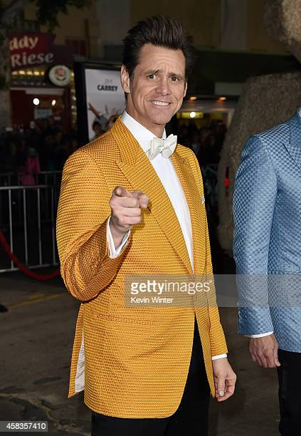 Actor Jim Carrey attends the premiere of Universal Pictures and Red Granite Pictures' 'Dumb And Dumber To' on November 3 2014 in Westwood California