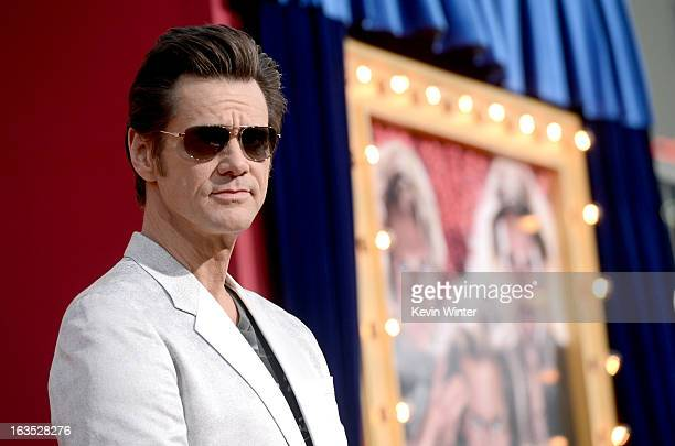 Actor Jim Carrey attends the premiere of Warner Bros Pictures' 'The Incredible Burt Wonderstone' at TCL Chinese Theatre on March 11 2013 in Hollywood...