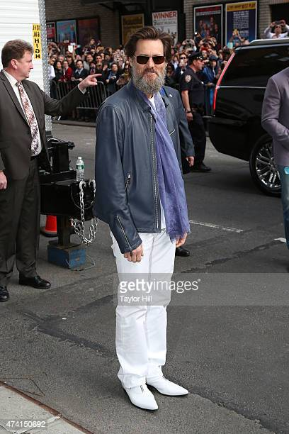Actor Jim Carrey departs 'Late Show with David Letterman' at Ed Sullivan Theater on May 20 2015 in New York City
