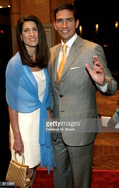 Actor Jim Caviezel and his wife attend the film premiere of 'High Crimes' April 3 2002 in Los Angeles CA The film opens in theaters nationwide April...