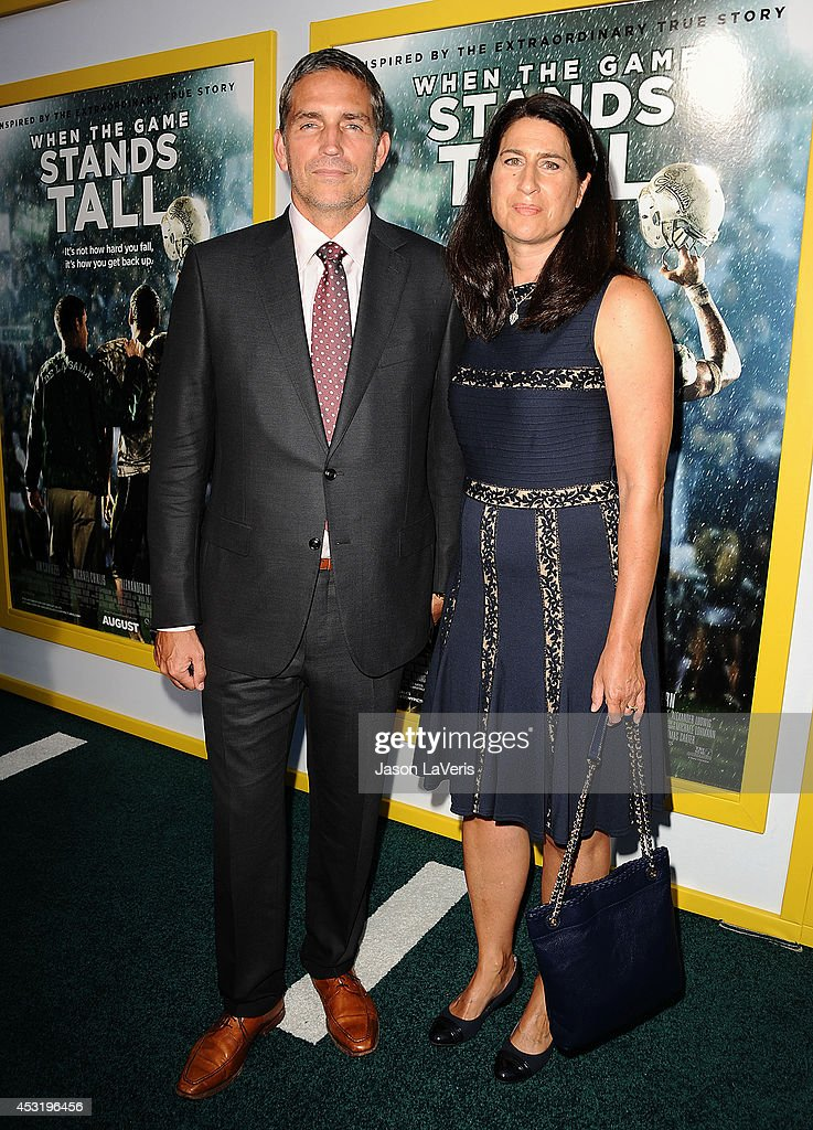 Actor Jim Caviezel and wife Kerri Browitt Caviezel attend the premiere of 'When The Game Stands Tall' at ArcLight Hollywood on August 4, 2014 in Hollywood, California.