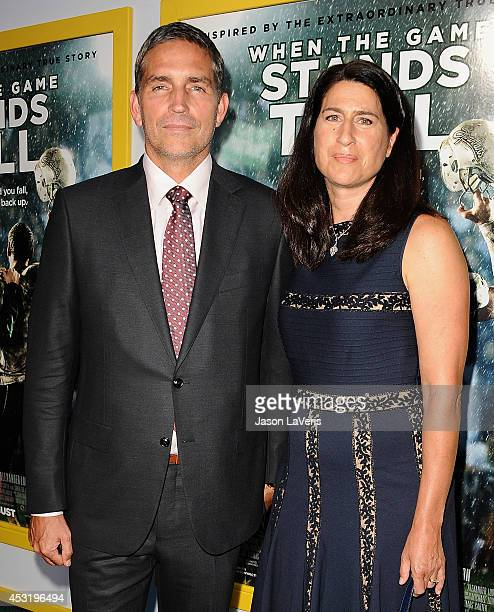 Actor Jim Caviezel and wife Kerri Browitt Caviezel attend the premiere of 'When The Game Stands Tall' at ArcLight Hollywood on August 4 2014 in...