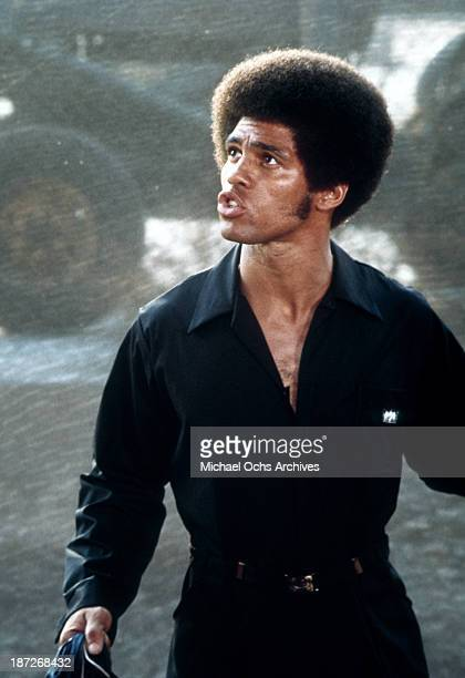 Actor Jim Kelly on set for the Warner Bros movie 'Black Belt Jones' in 1974