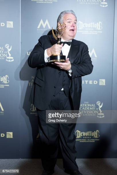 Actor Jim O'Heir displays his Emmy Award at the 44th Annual Daytime Emmy Awards at Pasadena Civic Auditorium on April 30 2017 in Pasadena California