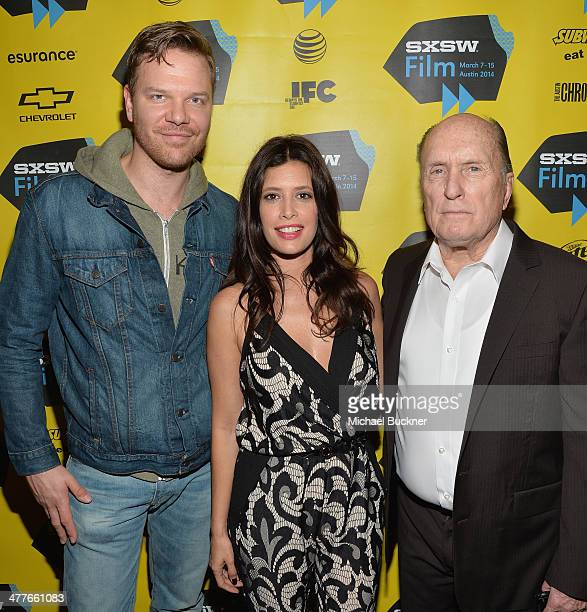 Actor Jim Parrack actress Angie Cepeda and actor Robert Duvall attend the screening of 'A Night In Old Mexico' during the 2014 SXSW Music Film...