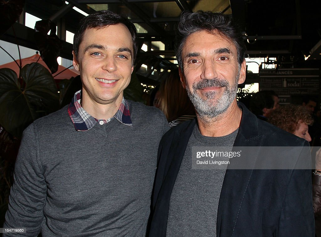 Actor <a gi-track='captionPersonalityLinkClicked' href=/galleries/search?phrase=Jim+Parsons&family=editorial&specificpeople=2480791 ng-click='$event.stopPropagation()'>Jim Parsons</a> (L) and writer <a gi-track='captionPersonalityLinkClicked' href=/galleries/search?phrase=Chuck+Lorre&family=editorial&specificpeople=2307242 ng-click='$event.stopPropagation()'>Chuck Lorre</a> attend a reception to celebrate the release of Lorre's 'What Doesn't Kill Us Makes Us Bitter' at Mixology101 & Planet Dailies on October 24, 2012 in Los Angeles, California.