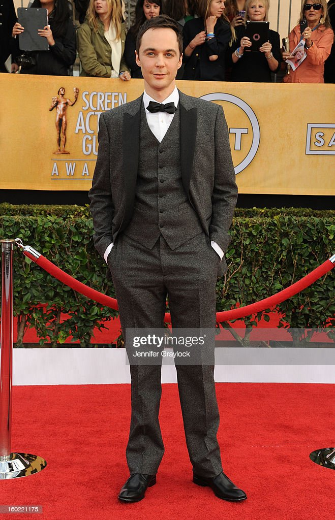 Actor Jim Parsons arrives at the 19th Annual Screen Actors Guild Awards held at The Shrine Auditorium on January 27, 2013 in Los Angeles, California.