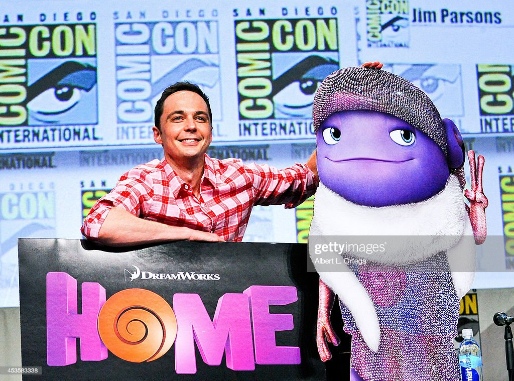 Actor <a gi-track='captionPersonalityLinkClicked' href=/galleries/search?phrase=Jim+Parsons&family=editorial&specificpeople=2480791 ng-click='$event.stopPropagation()'>Jim Parsons</a> at DreamWorks Animation Presentation of 'Home' - Comic-Con International 2014 held at the San Diego Convention Center on July 24, 2014 in San Diego, California.