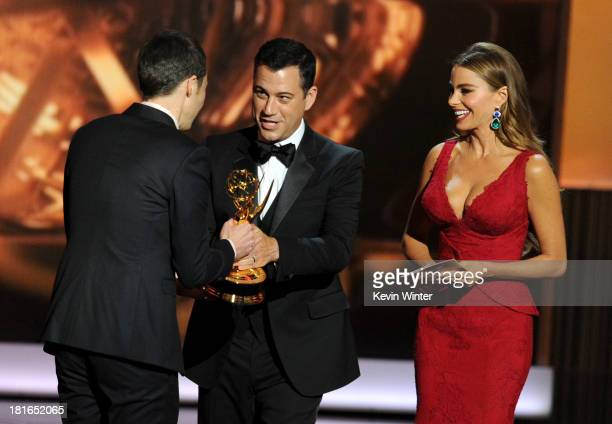 Actor Jim Parsons comedian Jimmy Kimmel and actress Sofia Vergara appear onstage during the 65th Annual Primetime Emmy Awards held at Nokia Theatre...