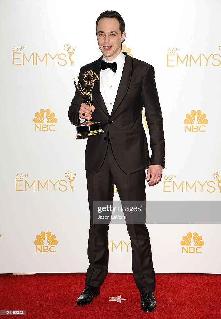 Actor Jim Parsons poses in the press room at the 66th annual Primetime Emmy Awards at Nokia Theatre L.A. Live on August 25, 2014 in Los Angeles, California.