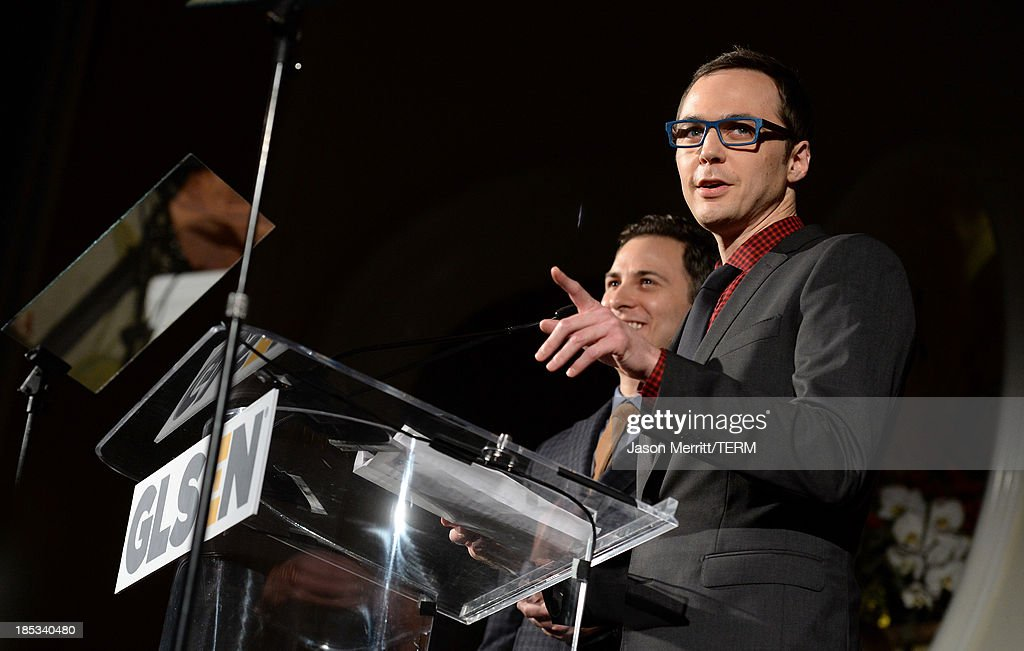 Actor <a gi-track='captionPersonalityLinkClicked' href=/galleries/search?phrase=Jim+Parsons&family=editorial&specificpeople=2480791 ng-click='$event.stopPropagation()'>Jim Parsons</a> speaks onstage during the 9th Annual GLSEN Respect Awards at Beverly Hills Hotel on October 18, 2013 in Beverly Hills, California.
