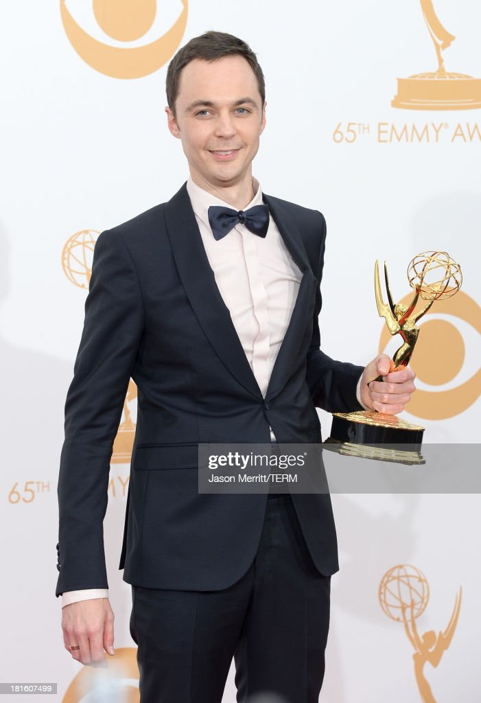 Actor Jim Parsons winner of the Best Lead Actor in a Comedy Series Award for 'The Big Bang Theory' poses in the press room during the 65th Annual...