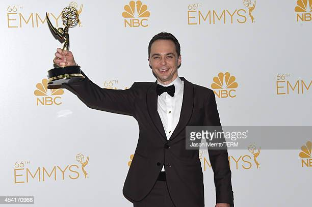 Actor Jim Parsons winner of the Outstanding Lead Actor in a Comedy Series Award for The Big Bang Theory poses in the press room during the 66th...