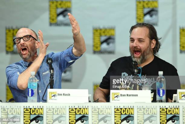 Actor Jim Rash jokes around with writer/producer Dan Harmon as they attend the 'Community' panel during ComicCon International 2014 at the San Diego...