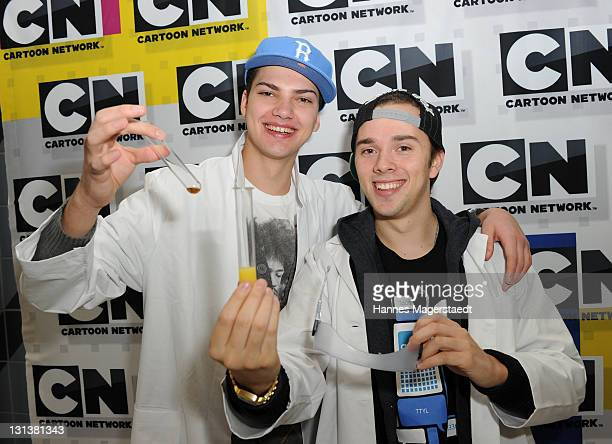Actor Jimi Blue Ochsenknecht and Mitja Lafere attend the preview screening of 'Cartoon Network Checker Jimi und Mitja probieren's aus' on the opening...