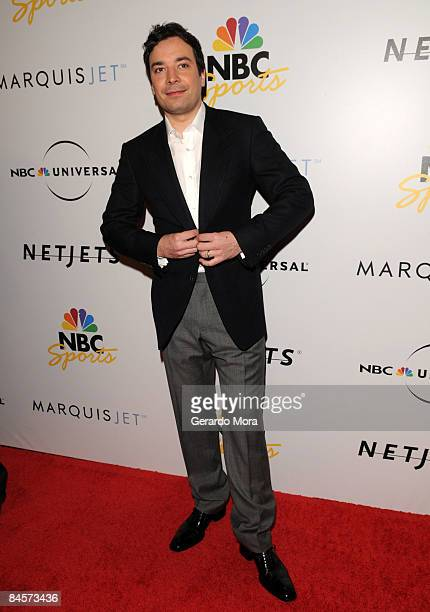 Actor Jimmy Fallon arrives on the red carpet on the NBC Universal Pre Super Bowl event at Portofino on January 31 2009 in Orlando Florida