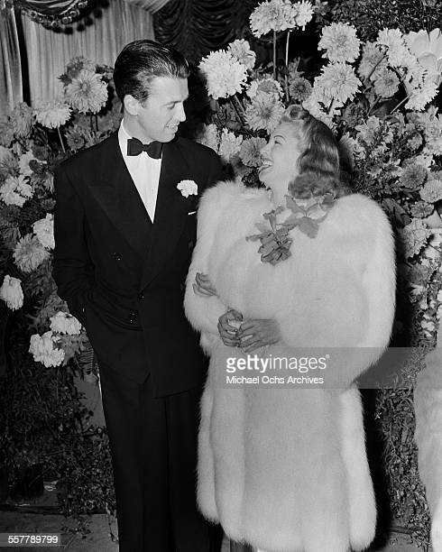 Actor Jimmy Stewart with actress Lana Turner at the MGM movie premiere of 'The Women' in Los Angeles California