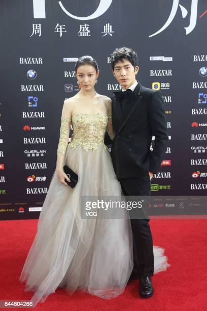 Actor Jing Boran and actress Ni Ni arrive at the red carpet of 2017 Bazaar Star Charity Night on September 9 2017 in Beijing China