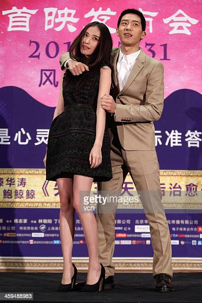 Actor Jing Boran and actress Ni Ni attend 'Up In The Wind' premiere at Solana on December 26 2013 in Beijing China