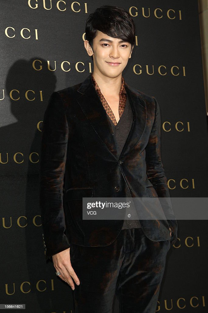 Actor <a gi-track='captionPersonalityLinkClicked' href=/galleries/search?phrase=Jiro+Wang&family=editorial&specificpeople=6328662 ng-click='$event.stopPropagation()'>Jiro Wang</a> of Fahrenheit attends Gucci store opening ceremony at Taipei 101 on November 22, 2012 in Taipei, Taiwan.