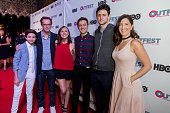 Actor JJ Totah Producer Sam Bisbee Actress Molly Shannon Writer/Director Chris Kelly Actor Zach Woods and D'Arcy Carden arrive at the 2016 Outfest...
