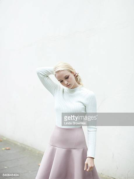 Actor Joanna Vanderham is photographed for Vogue on September 13 2014 in London England