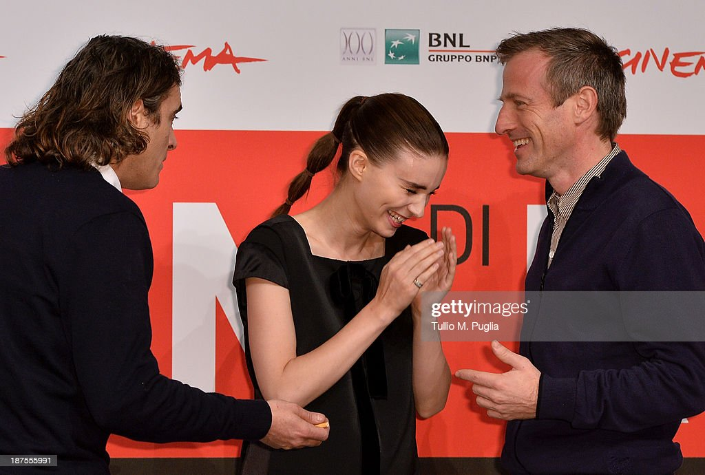 Actor Joaquin Phoenix, actress Rooney Mara and director Spike Jonze attend the 'Her' Photocall during the 8th Rome Film Festival at the Auditorium Parco Della Musica on November 10, 2013 in Rome, Italy.