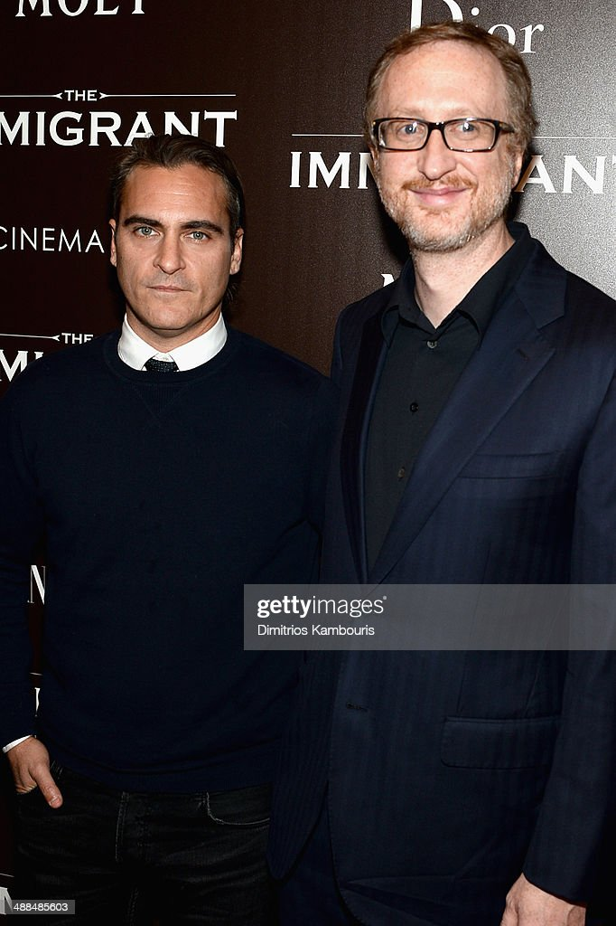 Actor <a gi-track='captionPersonalityLinkClicked' href=/galleries/search?phrase=Joaquin+Phoenix&family=editorial&specificpeople=215391 ng-click='$event.stopPropagation()'>Joaquin Phoenix</a> (L) and Director <a gi-track='captionPersonalityLinkClicked' href=/galleries/search?phrase=James+Gray&family=editorial&specificpeople=2479723 ng-click='$event.stopPropagation()'>James Gray</a> attend the Dior & Vanity Fair with The Cinema Society premiere of The Weinstein Company's 'The Immigrant' at The Paley Center for Media on May 6, 2014 in New York City.