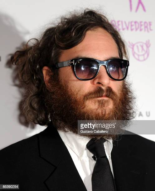 Actor Joaquin Phoenix arrives at LIV Nightclub at Fontainebleau Miami Beach on March 11 2009 in Miami Beach Florida