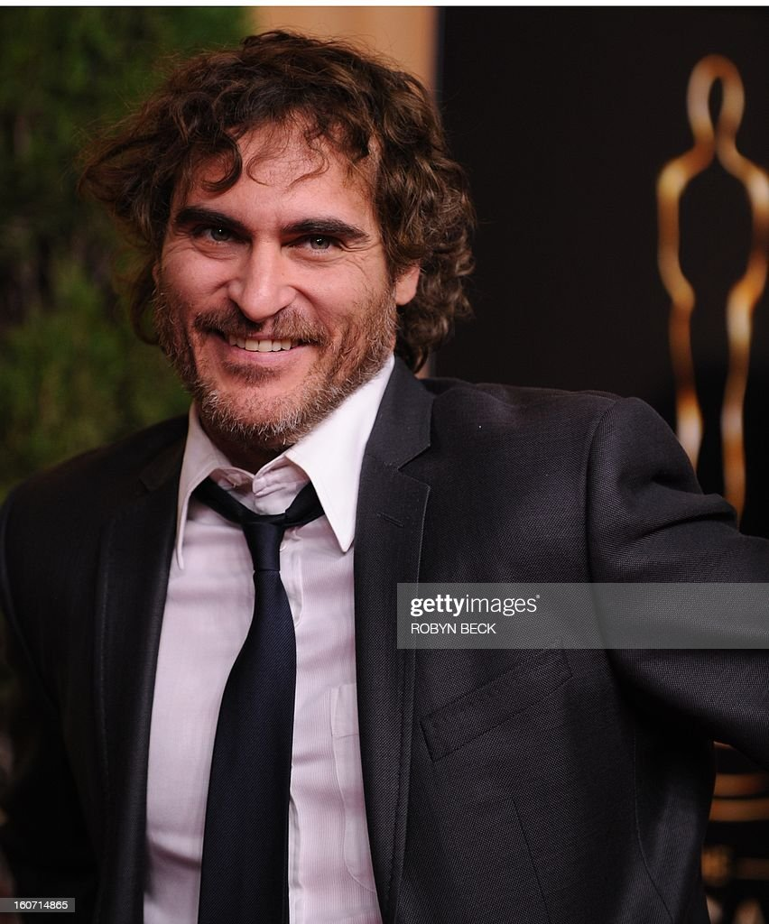 Actor Joaquin Phoenix arrives at the 85th Academy Awards Nominees Luncheon at The Beverly Hilton Hotel on February 4, 2013 in Beverly Hills, California. AFP PHOTO / Robyn Beck