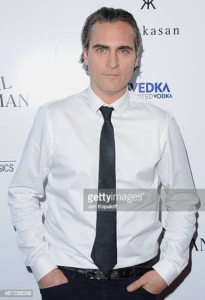 Actor Joaquin Phoenix arrives 'Irrational Man' at Writers Guild Awards on July 9 2015 in Los Angeles California