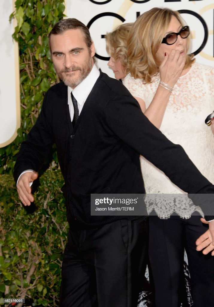 Actor Joaquin Phoenix attends the 71st Annual Golden Globe Awards held at The Beverly Hilton Hotel on January 12, 2014 in Beverly Hills, California.