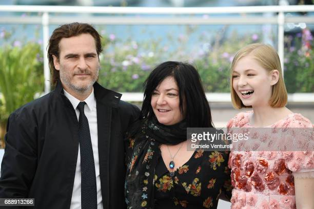 Actor Joaquin Phoenix Director Lynne Ramsay and actress Ekaterina Samsonov attend the 'You Were Never Really Here' photocall during the 70th annual...