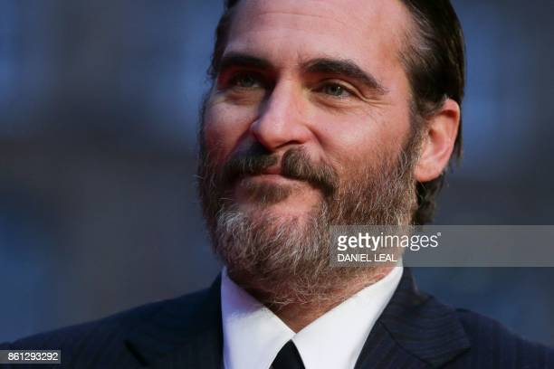 US actor Joaquin Phoenix poses on the red carpet arriving for the gala screening of the film 'You were Never really Here' during the BFI London Film...