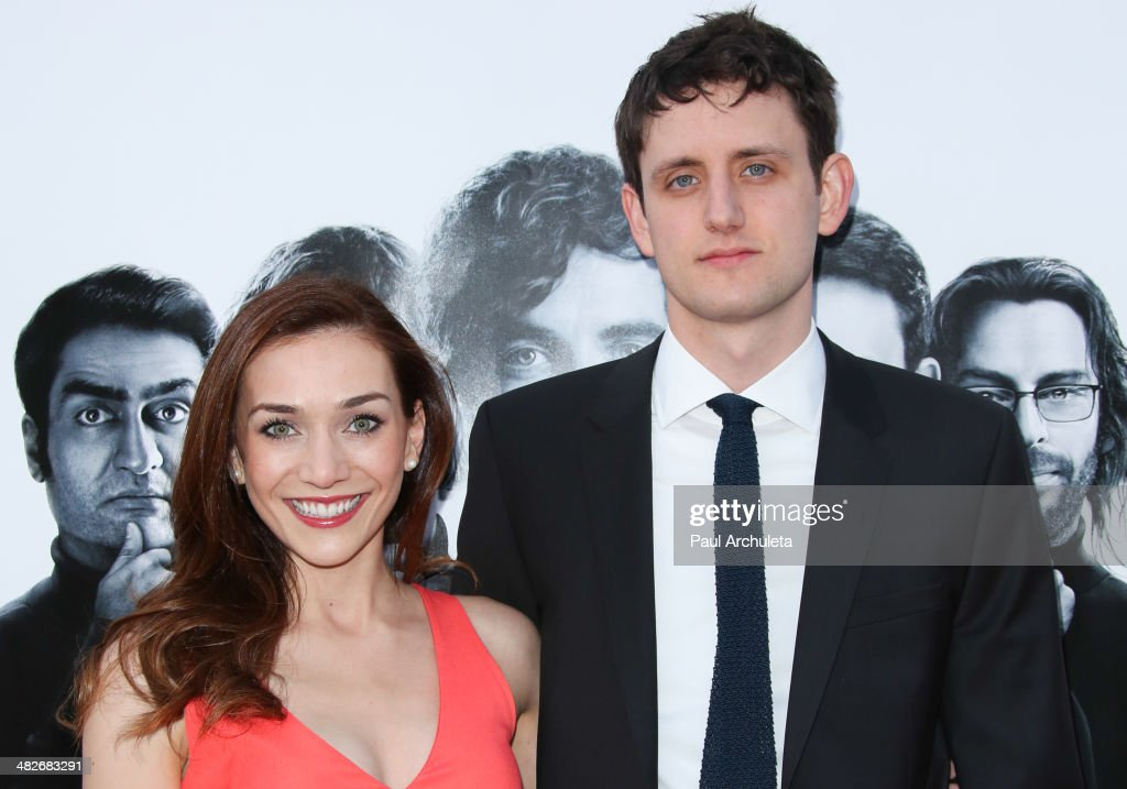 Actor Jocelyn DeBoer (L) and Zach Woods (R) attend the premiere of HBO's 'Silicon Valley' at Paramount Studios on April 3, 2014 in Hollywood, California.